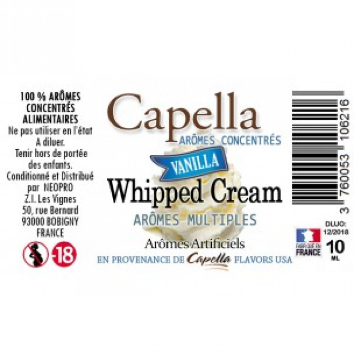 Capella Vanilla Whipped Cream Flavor 10ml